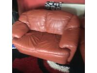 2 Two Seater Genuine Leather Sofas **Terracotta/Red**