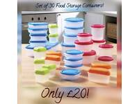 Set of 30 Food Storage Containers! Various Sizes Brand New!