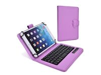 "Universal 7"" 8"" Tablet Folio Built-in Stand, Removable QWERTY Keyboard, Rechargeable Battery"