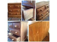 1x solid pine bedside drawers cabinet table very heavy small drawers dovetail joints