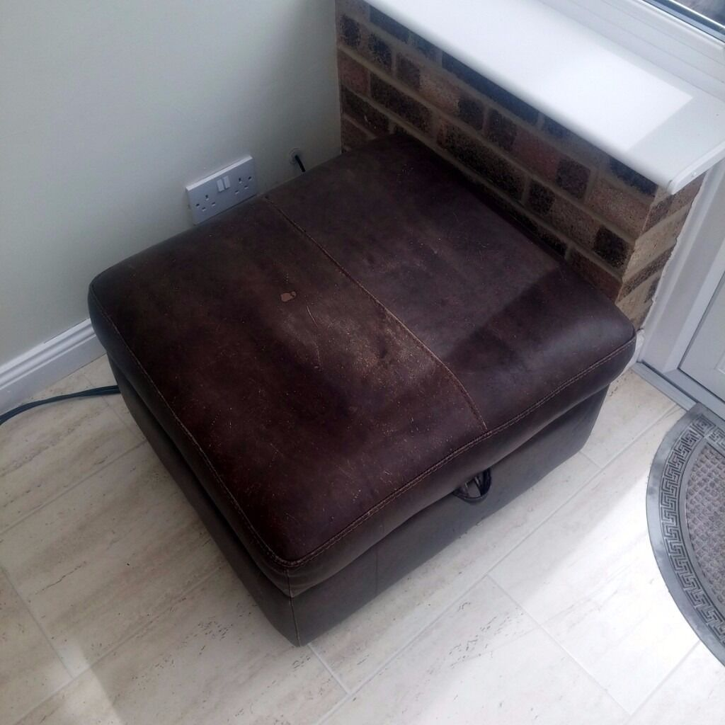 Brown Leather Puffy Foot Rest + Storage For Living Room   £10   Pickup From Part 83