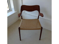 Niels Moller Teak Arm Chair Model 55 Mid Century Danish Modern Dining Paper Cord