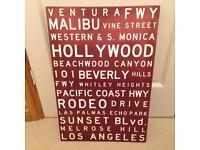 Los Angeles canvas dark red