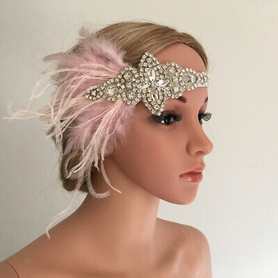 Pink Feather Headpiece (Crystal Pink Feather 1920s  Flapper Headpiece Wedding Bridal)