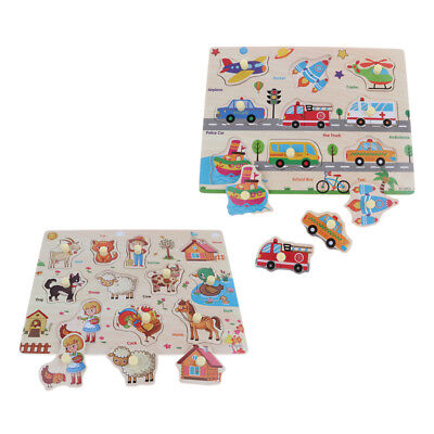 2 Set Holz Pegged Puzzle Frühes Lernspielzeug für Alter 1 4 Jahre Jungen ()