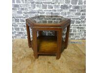 Vintage Glass Top Hexagon Coffee Table