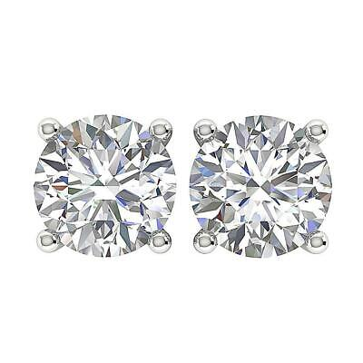 Genuine Diamond Solitaire Studs Earring SI1 G 1.20 Ct White Gold Four Prong Set