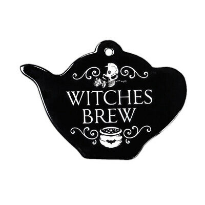 Alchemy Gothic Witches Brew Teapot Shaped Trivet Kitchen Hanging Wall Decor