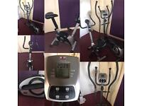 Exercise bike with pulse and calorie count. elliptical machine with pulse and calorie counts
