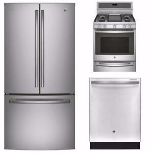 Combo Cuisine en acier inoxydable : Frigo 36, Cuisinière 30 et Lave-vaisselle 24