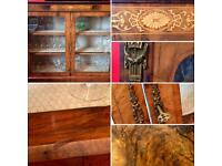 Antique cabinet. Walnut veneer. Glass front. Original key.