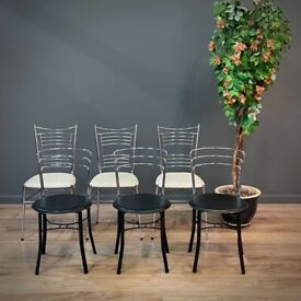 Attractive Set of Six Vintage Italian Chrome Chairs