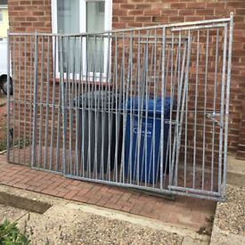 3 metal panels for dog pen 2 with gates 50 pound each