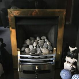 Legend Vantage Traditional Brass & Silver Gas Fire with Pebble Effect Decorations