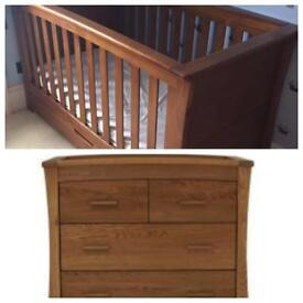 Mamas and papas ocean cot bed and chest of draws