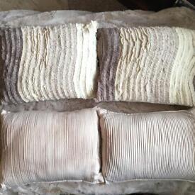 4 Cream & Beige Silk (feel) Pleated/Cotton Ruffled Cushions (with inners)
