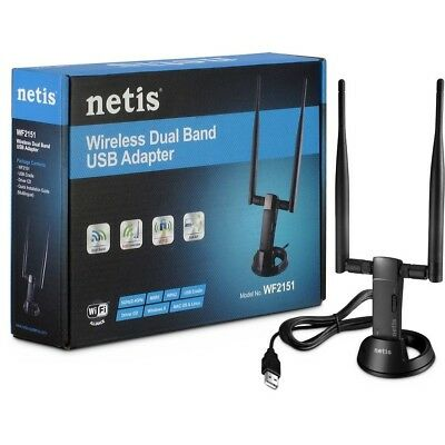Netis WF2151 N600 High Gain Wireless Dual-Band USB Adapter w/DUAL 5dBi Antenna for sale  Shipping to India