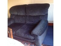 Free - Blue Cord Small Sofa , tidy condition, playroom/spare room, no fire labels