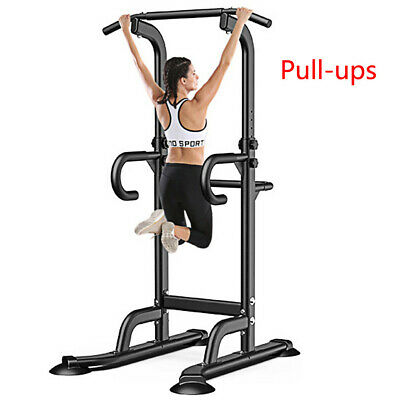 Dip Station Power Tower Pull Up Bar Strength Training Workou