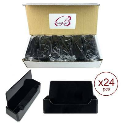 24pcs Black Acrylic Compartment Desktop Business Card Holder Display Stand