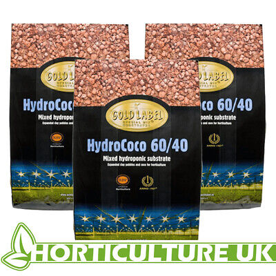 Gold Label Hydro/Coco 60/40 45 Litres Coir Clay Pebbles Mix Media ** 3 BAGS **