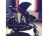 Isafe tandem double carrycot/seat pram