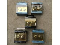 Dimmer Switch polished Brass 2 gang 2 way flat plate