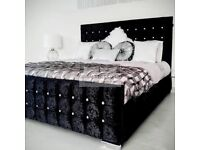 Black crushed velvet double bed