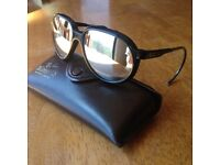 Bausch & Lomb Ray-Ban Wings mirrored glacier sunglasses in original leather case.