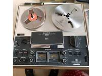 Sony TC-377 reel to reel tape recorder and large number of tapes