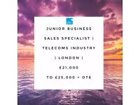 Junior Business Sales Specialist - Exciting role in growing telecoms company! upto £25,000 + OTE!