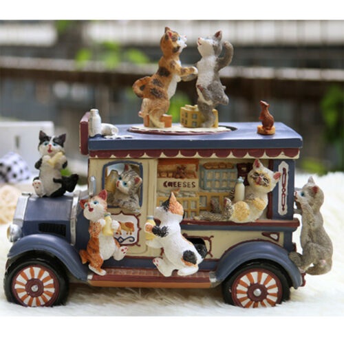 Wooden Small Cat Car Music Box Resin, Birthday Gift for Kids