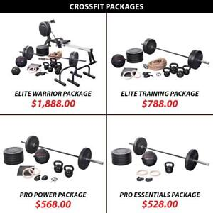 Rings Rower Package Set Training Bundle Crossfit Weightlifting Powerlifting Weight Kettlebell Barbell Olympic Plate