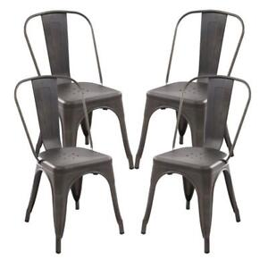 New Poly and Bark Trattoria Side Chair (Set of 4), Bronze, PICKUP ONLY - DI11