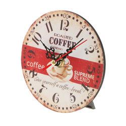 Retro Wooden Wall Clock Round Desk Clock Antique Home Decorative 8#