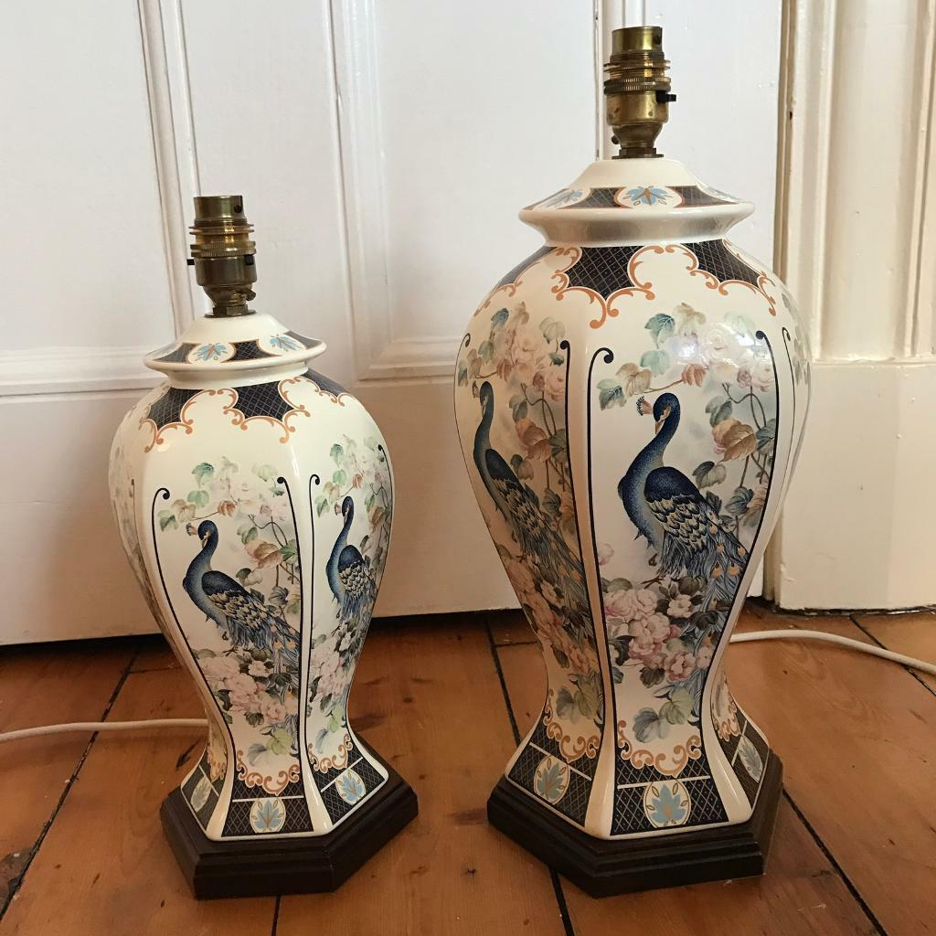 2 Large Chinese Style Table Lamp Bases Peacock Oriental In West End Glasgow Gumtree