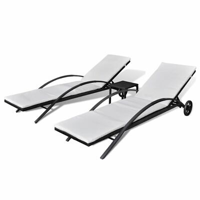 2 Sun Loungers 1 Table Poly Rattan Sun Lounger Set Garden Outdoor Brown/Black ()
