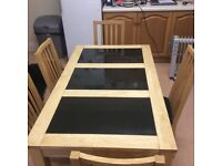 Kitchen Table - Wood and Marble Top Six Chairs
