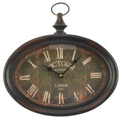 Hanging Oval Wall Clock Victoria Station London 1879 Pocket Watch Style Decor