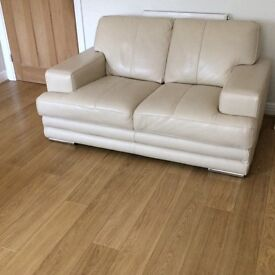 SOLD Like New DFS Glow Range Leather Two Seater Sofa X 2 plus Storage Footstool (Vanilla)