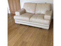 SOLD Like New DFS Glow Range Leather Two Seater Sofa X 2 plus Storage Footstool (Vanilla)