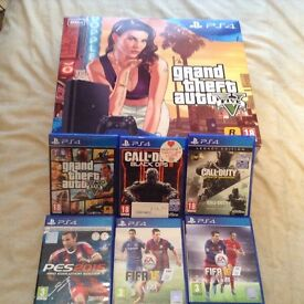 SONY PS4 SLIMLINE LATEST 500GB BOXED MINT CONDITION WITH 6 GAMES