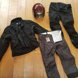 Mens motorcycle clothing bundle - helmet jacket and trousers