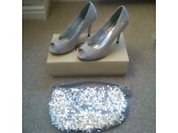 Silver High Heels Size 6 & Matching Bag - Ideal for Xmas/Wedding