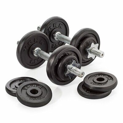 York 20kg Dumbbell Set Adjustable Weights w/ 12 Cast Iron Plates, Bars & Collars