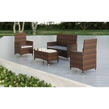 Brown 1 Table 3 Seats Poly Rattan Garden Furniture Set SKU 40632 Woolloomooloo Inner Sydney Preview
