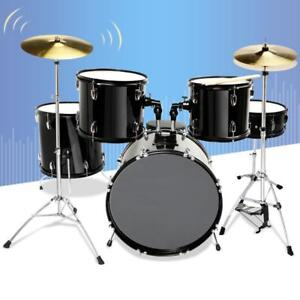 5 Piece Complete Adult Drum Set Cymbals Full Size Kit with Stool & Sticks Black - BRAND NEW - FREE SHIPPING