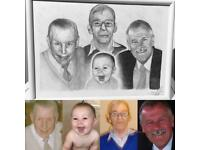 Portrait artist, pencil portraits, mounted and framed