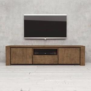 "Urban Woodcraft 71"" TV Stand - Natural Wood (Dark) NEW"