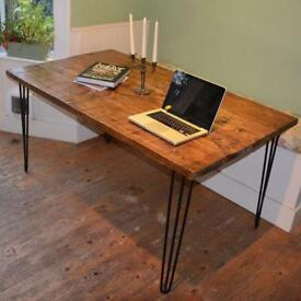 Large Handmade Rustic Industrial Reclaimed Wooden Hairpin Leg Dining Table - 6 seat